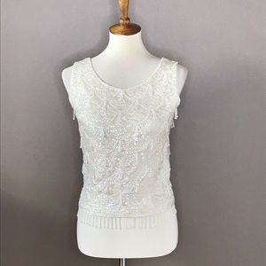 Vintage Imperial Imports Cream Beaded Sequined Top